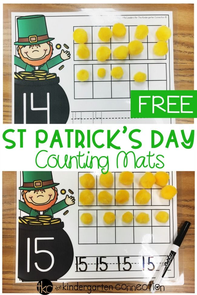 These free printable St. Patrick's Day teen number counting mats are so fun for working on numbers 11-20 in Kindergarten! They are perfect for March math centers!