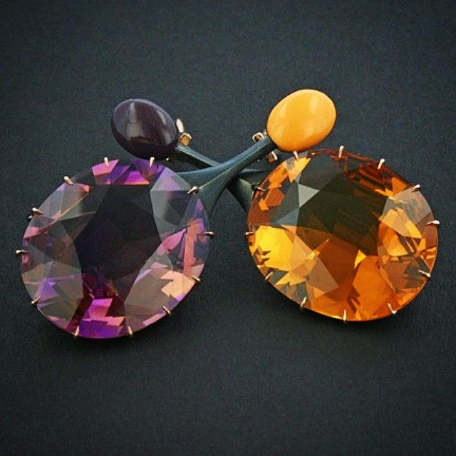"""""""Citrine and amethyst, steel and gold and ceramic. #taffinjewelry #taffin…"""