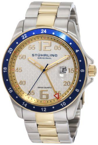Stuhrling Original Men's 289.332U22 Aquadiver Regatta Galleon Swiss Quartz Date Two Tone Bracelet Watch Stuhrling Original. $82.90. Protective Krysterna crystal with designed case back. Brushed and polished two tone link bracelet with deployant clasp. Silver designed dial with goldtone markers and date window. Brushed and polished stainless steel case with yellow gold layered bezel. Water-resistant to 165 feet (50 M). Save 80% Off!