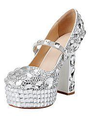 Bombas de cuero de patente de las mujeres de la boda de tacón Chunky Heels Shoes con diamantes de imitación