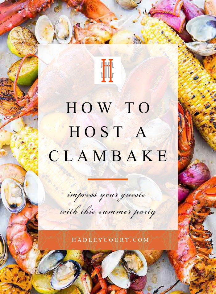 How to host a clam bake lobster boil party. Click to see our tips for this summer entertaining idea in the post! Clambake, lobster boil, seafood boil, lobster party—whatever it is you'd like to call it we're loving the idea of hosting a seafood soirée this summer. Hadley Court Interior Design | Gracious Entertaining