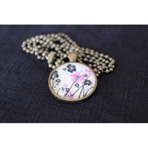 Black & Pink Flower Pendant @ www.artncraft.co.nz