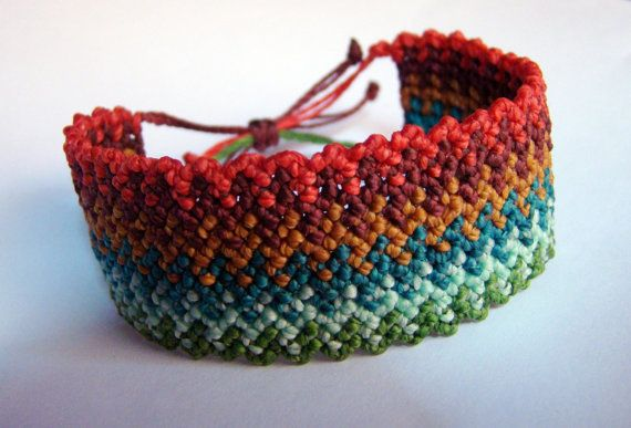 "Macrame bracelet ""Inca's path"" knot ""rice knot"" - Multicolor rainbow  tribal zig zag cuff wristband"