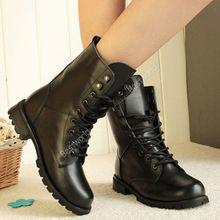 Moda mulher do inverno das senhoras motocicleta Combat Boots Vintage exército Punk Goth tornozelo calçados femininos Biker PU couro curto botas Y1(China (Mainland))