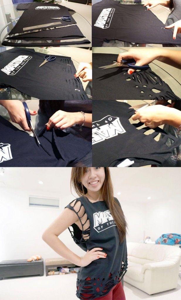 DIY Lace T-Shirt with Slant - Master of the Universe T-Shirt Tutorial - @Salina Siu