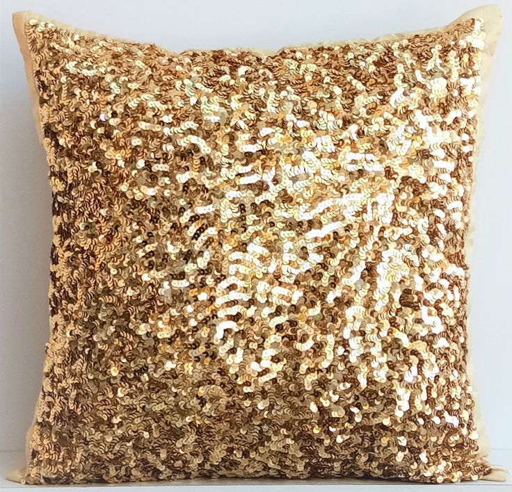 """Designer Gold Pillows Cover, Handmade 16""""x16"""" Silk Pillow Covers, Square Sparkly Glitter Sequins Embroidery Pillows Cover - Golden Sparkle by TheHomeCentric on Etsy"""