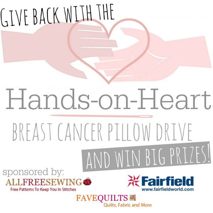 Hands-on-Heart Breast Cancer Pillow Drive | AllFreeSewing.com - please consider making a pillow to donate before 10/31/14