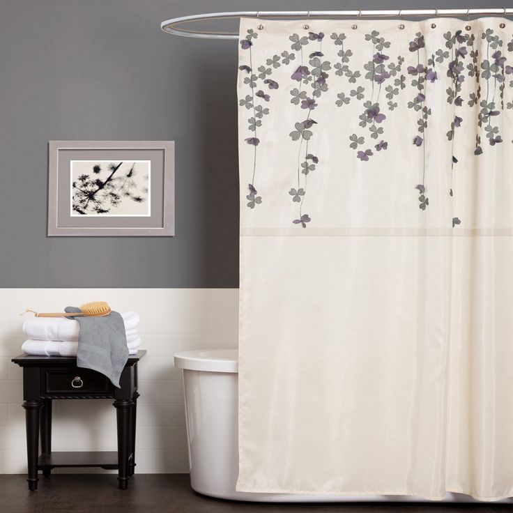 Triangle Home Fashions Lush Decor Flower Drop Shower Curtain 72 Inch By