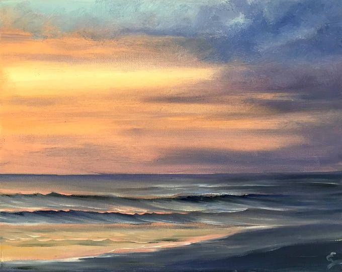 Sunrise Over Ocean Painting Coastal Landscape Surf Art Beach Art Ocean Scene Fine Art Original Small Oil Painti Sunrise Painting Ocean Painting Ocean Art