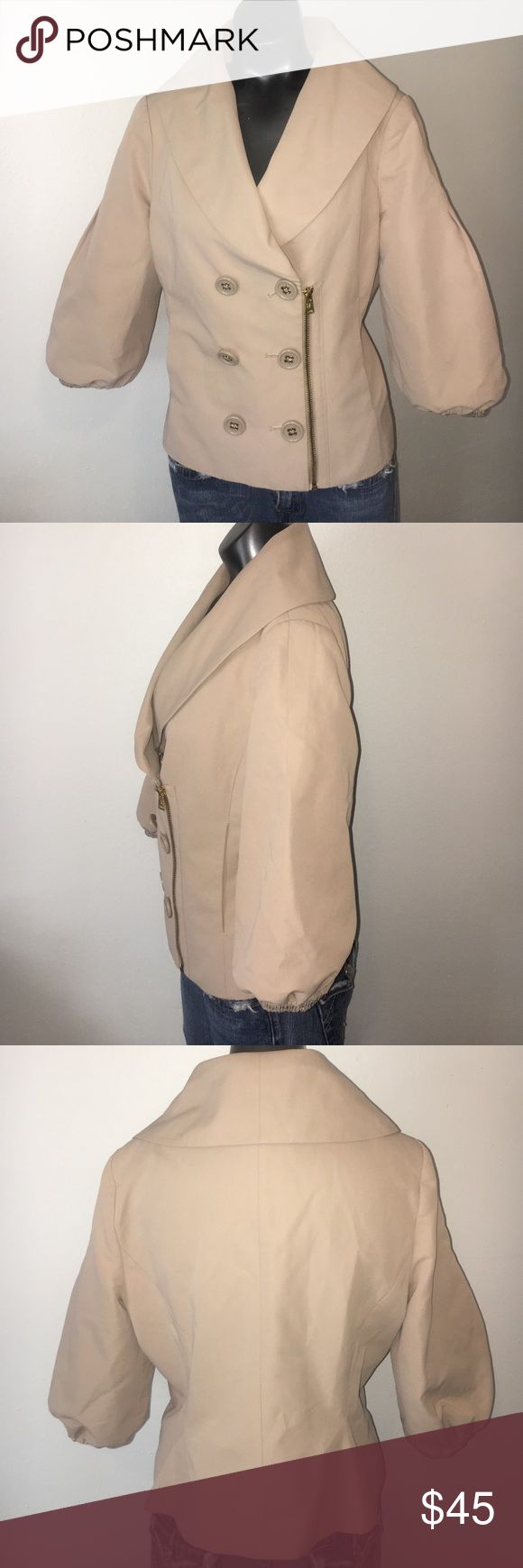 BCBGMAXAZRIA Jacket Size M Beige Solid Dry clean only Measurements Detailed measurements are not available for this item. Materials 59% Cotton, 41% Polyester BCBGMaxAzria Jackets & Coats