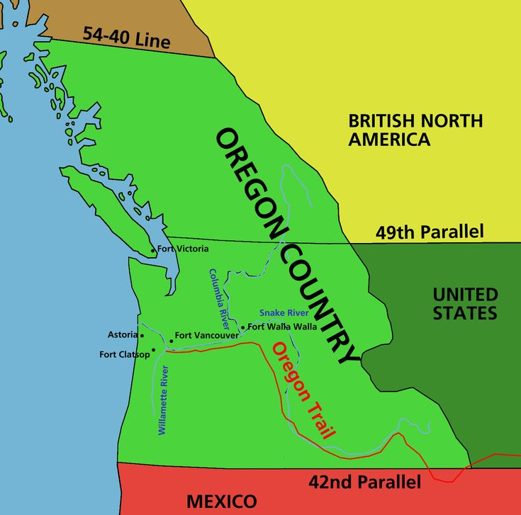 Aug. 5, 1846. Oregon country is divided between the United States and Britain at the 49th parallel.