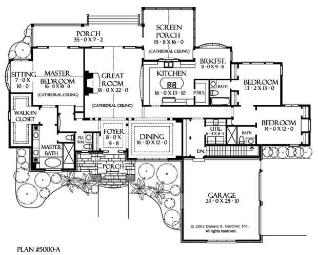 Basement floor plan of the sycamore hall house plan for Empty nester house plans with basement