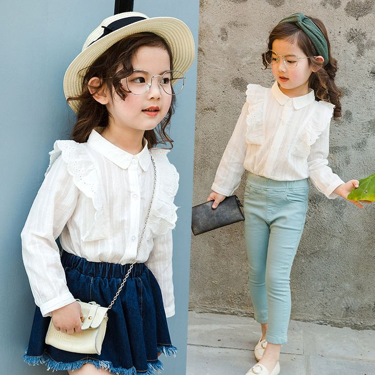 2017 girls shirt spring new child child female baby lace long sleeve shirts blouse tops white 2-9 Year