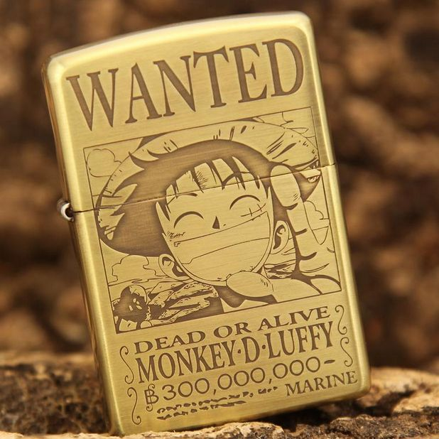Etching Brass One Piece Wanted Luffy Zippo Limited Edition
