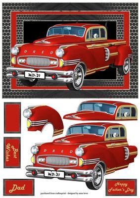 Red Retro Truck A5 Landscape on Craftsuprint designed by Anne Lever - This fab A5 landscape topper features a fabulous red retro truck. It has decoupage, three greetings and a blank greetings tile.Also available as a three page mini kit. - Now available for download!