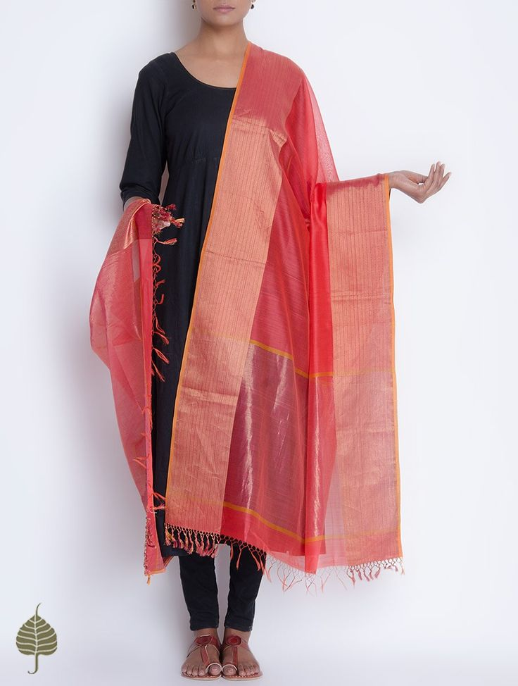 Coral Red Maheshwari Silk Cotton Dupatta with Woven Zari Border by Jaypore on Jaypore.com