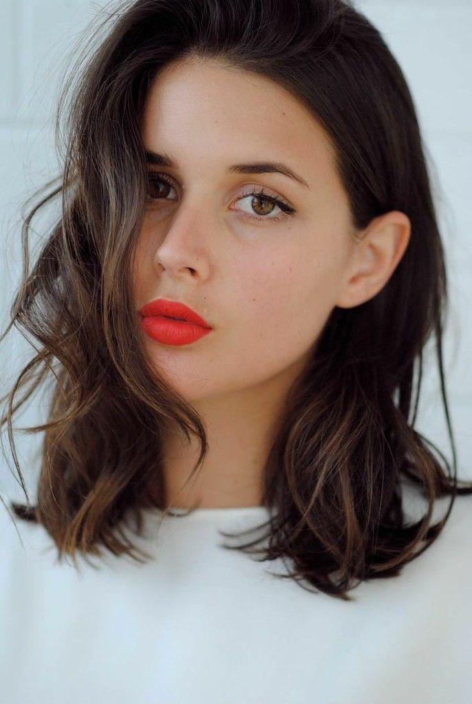 Collar-Bone Cut Orange Lipstick. Keep it simple. Bright lippy and neuttral eyes.