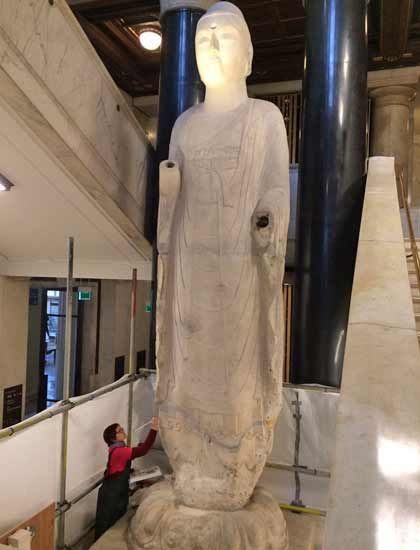 A colossal Chinese Buddha statue which has just gone on display at the British Museum