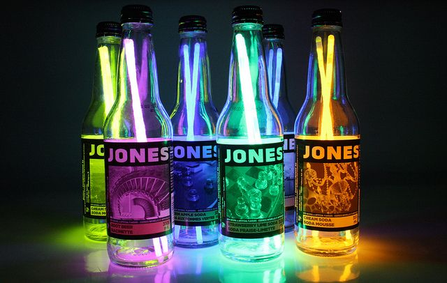 glow sticks in drink bottles. Probably Seagrams wine coolers?