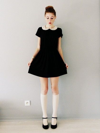 Peter Pan Collared Dress with (black instead of white) Knee High Socks