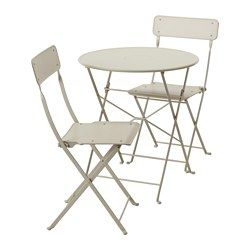 IKEA - SALTHOLMEN, Table and 2 folding chairs, outdoor, , Takes little room to store as both the table and the chair fold flat.Both the table and the chair come pre-assembled, so you can start using them immediately.The furniture is durable and easy to care for, as it is made of powder-coated steel.