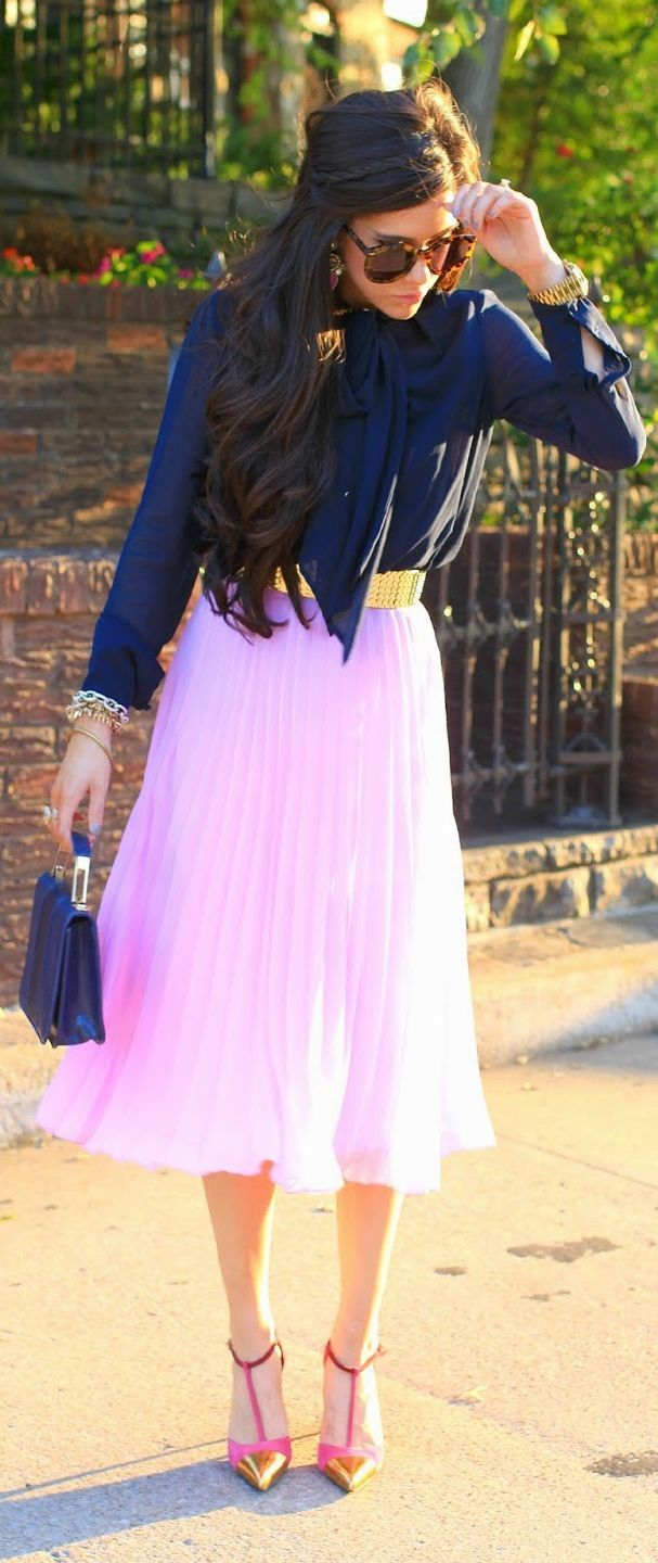 Light Pink Pleated Midi Skirt by The Sweetest Thing