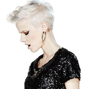 Our Rock Chick style combines a pearl platinum colour blend with an adrogynous short cut. With textured, rough around the edges styling, let your fierce side free.