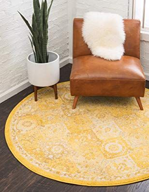 Unique Loom 6 Feet 0 Inches Round Carrington Yellow Area Rug Review
