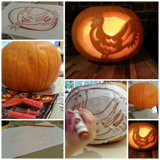 comt découper citrouille d'Halloween chicken or egg themed carved pumpkin