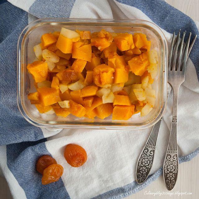 Кулинарный блог 365 дней: Тыква, запеченная с яблоками и курагой