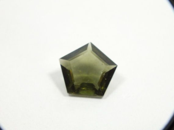 Moldavite Five sided  faceted loose unset by EarthStonesAustralia