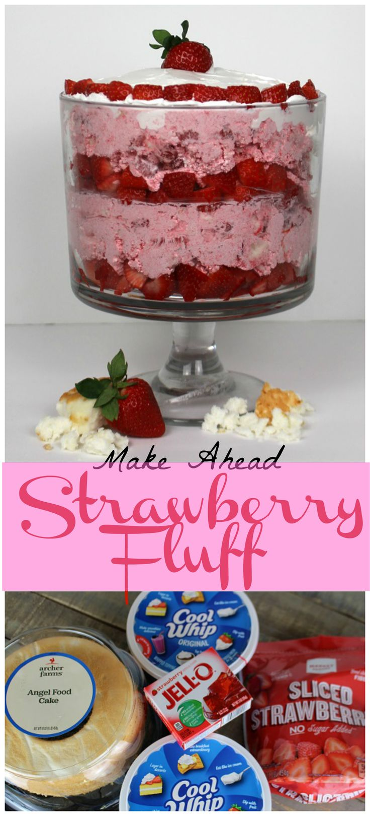 This ridiculously delicious, make ahead, quick and easy Strawberry Fluff dessert only uses four simple ingredients. This recipe a keeper for sure!! http://glitterandgoulash.com/quick-and-easy-make-ahead-str…/