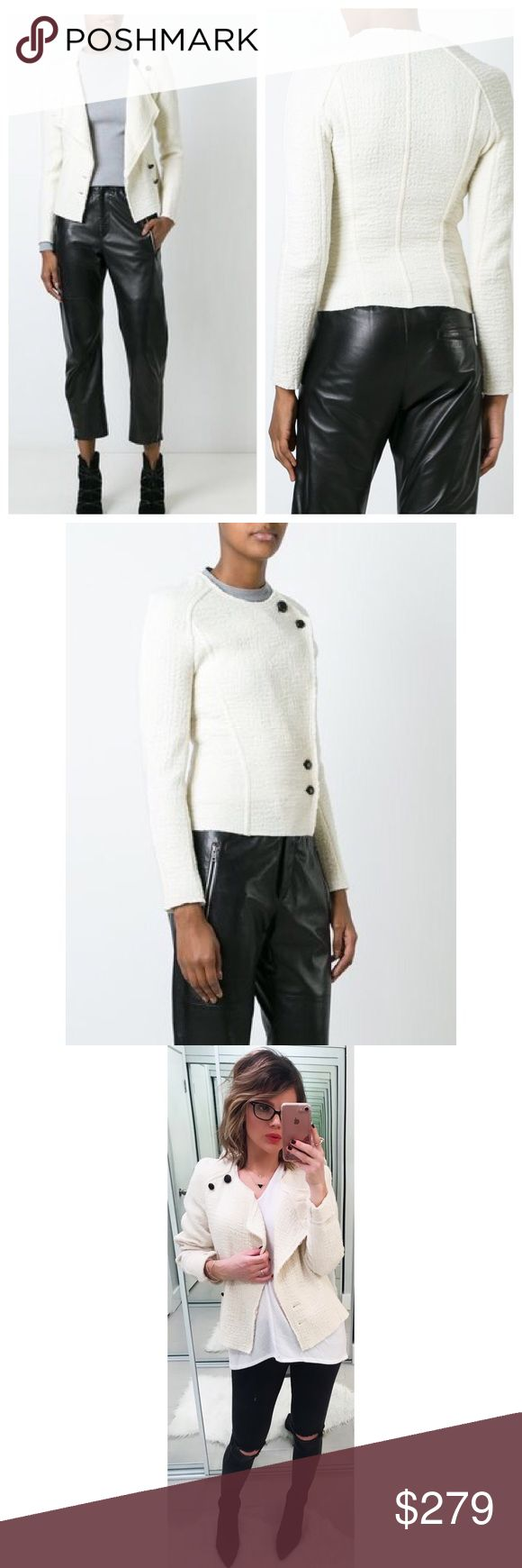 """Isabel Marant Ivory Lawrie Jacket Button into a resolutely Isabel Marant look with this Lawrie jacket. Crafted from soft virgin wool in a divine ivory hue, it's finished off with black buttoning for a cool contrast that forms a structured figure. Size 36/small/4. round neck. front button fastening. piped seams to the front. asymmetric hem. Double breast design. Approx. 22"""" from shoulder to hem. 100% Virgin wool 💕Offers welcome on single items and on bundles. Take 20% off your bundles…"""