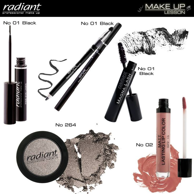 Make Up Lesson | Radiant Professional Make Up Για μια ξεχωριστή βραδιά απλώστε μεταλλική ασημένια σκιά στην εσωτερική γωνία του ματιού έως την πτυχή των βλεφάρων. Στην εξωτερική γωνία του ματιού, για πιο dramatic εφέ, εφαρμόστε μαύρο eyeliner στα άνω και κάτω βλέφαρα. #Radiant #Professional #makeup #eyeshadow #mascara #eyeliner #eyepencil #lipstick