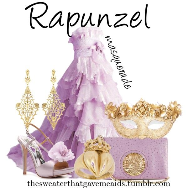 Rapunzel Masquerade by khriseus on Polyvore featuring Masquerade, Badgley Mischka, Dareen Hakim, Kieselstein-Cord and IaM by Ileana Makri