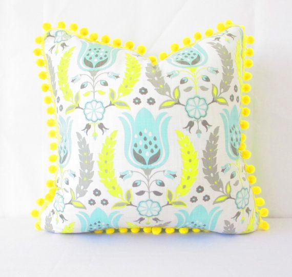 Bohemian Pillow Cover, Room Decor Boho, Room decor for teen girls, woodland cottage farm, Yellow floral  Yellow Mint Green Pillow, pom pom
