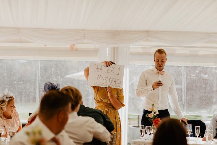 Props and glamorous assistants are always a hit with the best man speech. Photo by Benjamin Stuart Photography #weddingphotography #weddingspeech #bestmanspeech #glamourousassistant #weddingday #applause