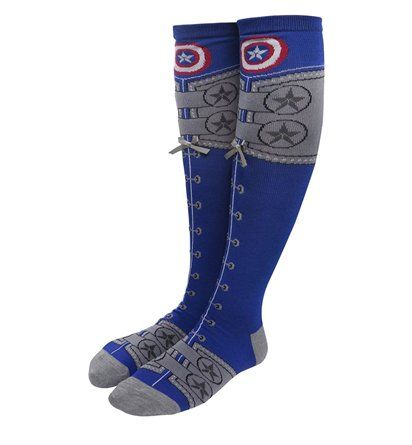 The Captain America Lace Up Knee High Women's Socks are costume style socks that will help your footers channel the power of the First Avenger. Check 'em out!
