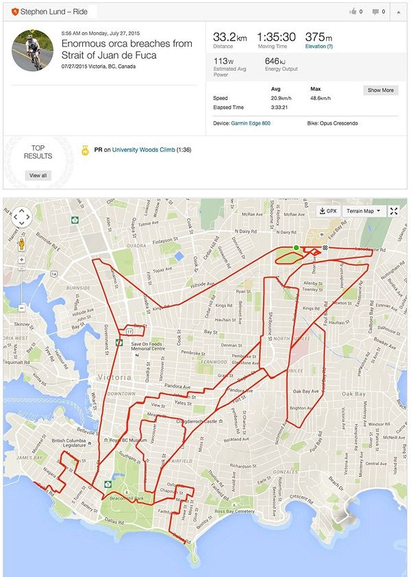 "Strava is a popular GPS program used by runners and cyclists to track their workouts. Victoria, British Columbia-based artist Stephen Lund uses the program to create these ""GPS Doodles"" instead. Pedalling an average of 70 kilometres in a single day for … Continue reading →"
