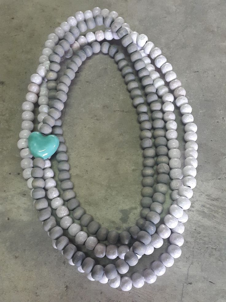 Necklace with grey and white wooden beads