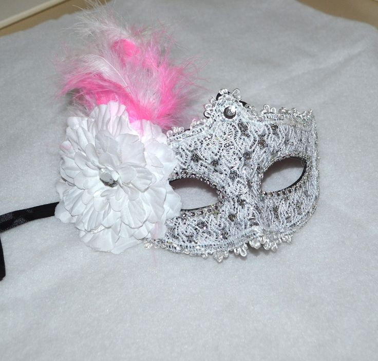 Pink , White and Silver Masquerade Bridal Mask, Mascarade mask, Pink mask, lace mask, mardi gras, costume, sweet 16, homecoming, halloween by creatingwithni on Etsy