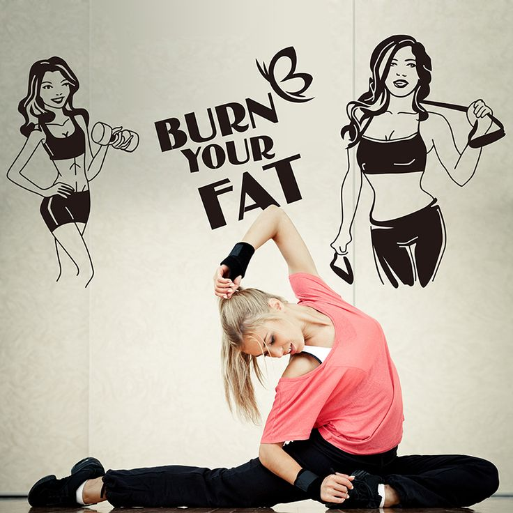 Fitness Wall Sticker Girl Sexy Burn Your Fat Handmade Wall Poster Sticker For Living Room Gym Shop Mural Sticker Home Decor #Affiliate