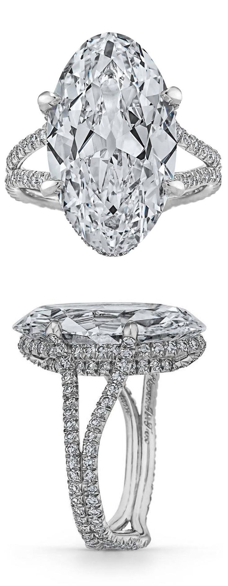 An Art Deco platinum and diamond ring, 1930s. Featuring an oval diamond weighing 9.83 carats. #ArtDeco #ring