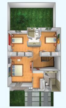 Planos de Casas y Plantas Arquitectónicas de Casas y Departamentos: Plano de Casa con cuarto de TV y baño compartido en planta alta