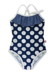 Girl's one-piece polka dot with ruffle detail