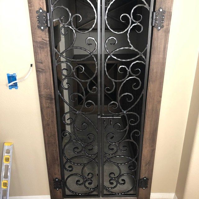 Scrolled Leaf Grapevine Iron Garden Gate Or Wine Cellar Door Etsy Wine Cellar Door Iron Wine Cellar Door Iron Wine Cellar Gate