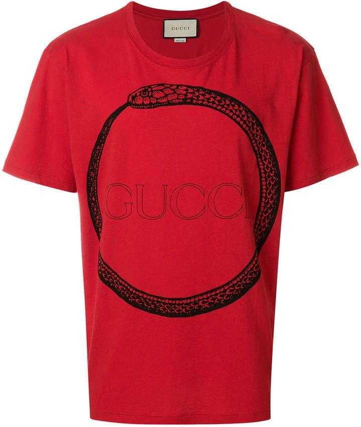 912dae97e6fe Gucci Ouroboros print T-shirt #Gucci #shirt #ShopStyle #MyShopStyle click  link to see more of shirt collection