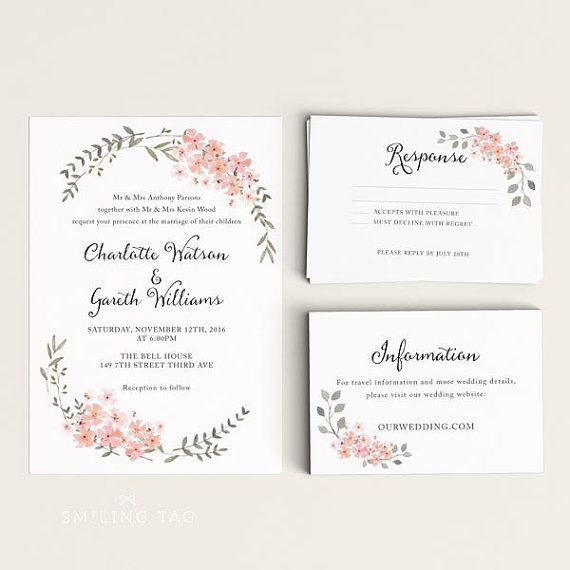 Printable Wedding Invitation Set   Watercolor Floral Garden   Ready To  Print PDF   Rsvp Card   Letter Or Size (Item Code: