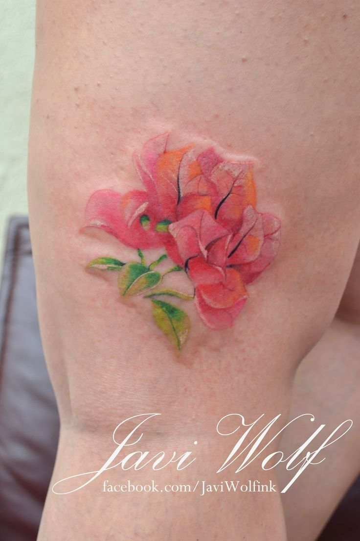 Bougainvillea, no lines, watercolor. One of the best bougainvillea tattoos I have seen, and this is a flower I definitely want.