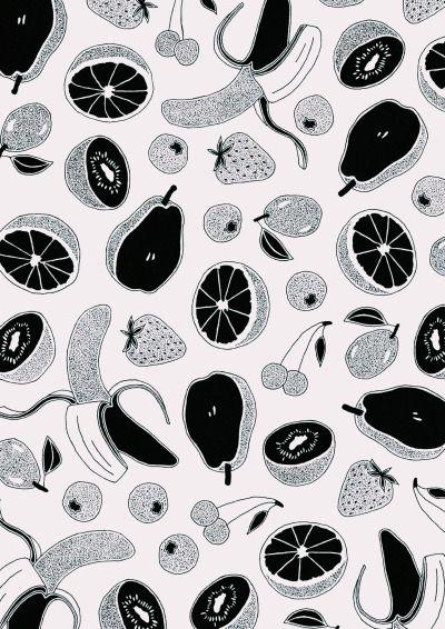 Fruit salad black and white pattern.
